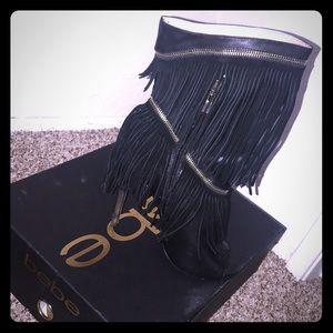 Bebe fringe  heels